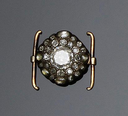A diamond set clasp and a paste portrait brooch  (2)