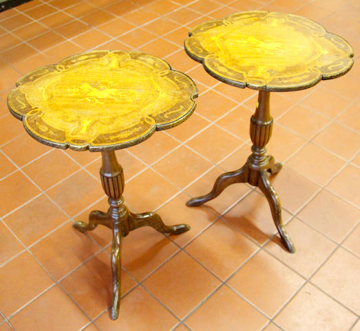 A pair of marquetry inlaid wine tables,
