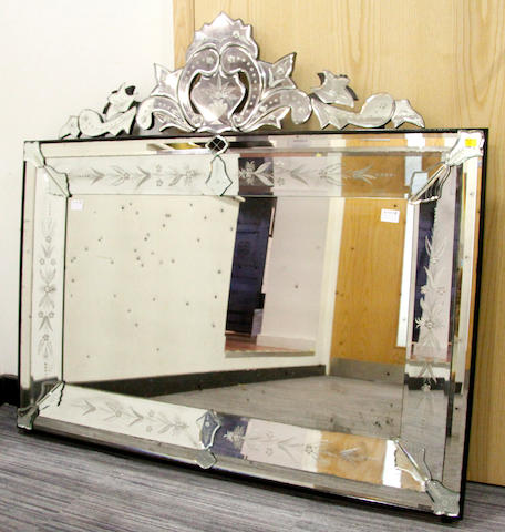 A Venetian style rectangular overmantel mirror,