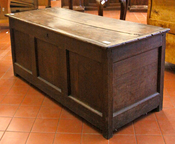 An 18th Century triple panelled oak coffer,