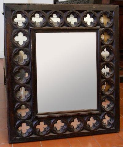 A Victorian oak mirror