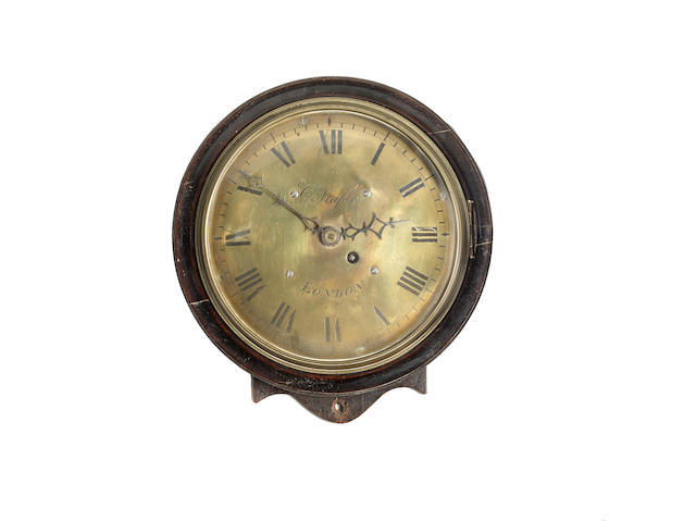 A mahogany wall timepiece with eight inch dial and verge escapement The dial signed G Staples, London