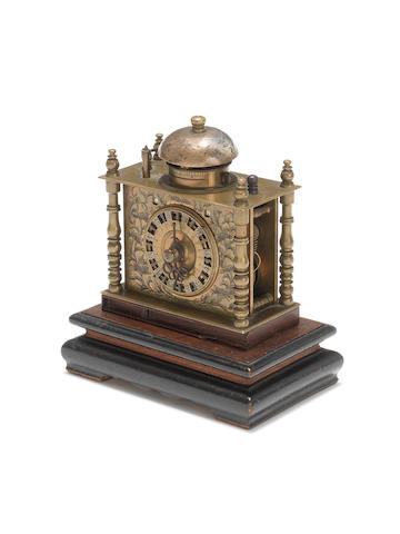 A 19th century Japanese table clock, or Makura Dokei, with double date indication