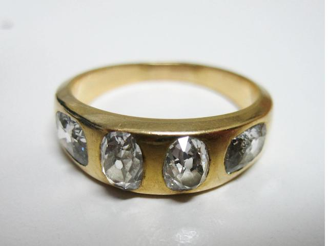 A diamond four-stone ring