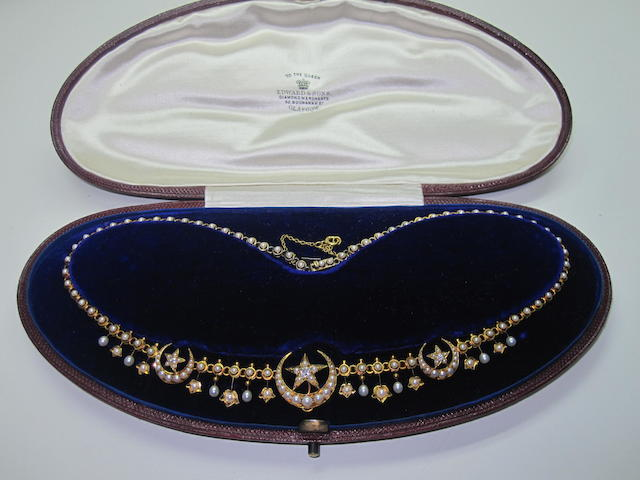 A late Victorian seed pearl and diamond necklace