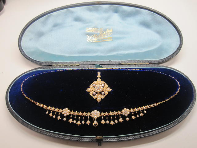 A late Victorian seed pearl and diamond suite