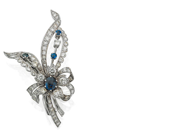 A sapphire and diamond flowerspray brooch