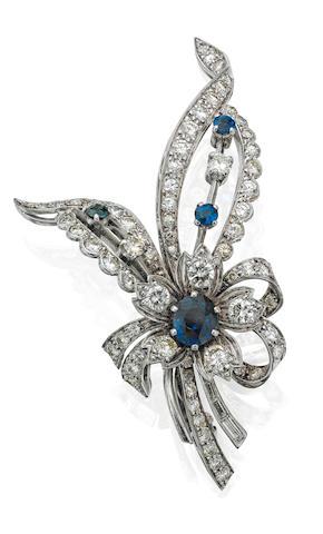 A sapphire and diamond flowerspray brooch