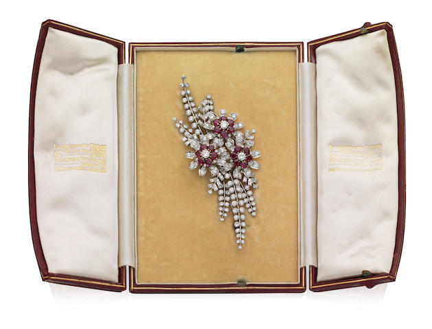 A ruby and diamond brooch, 1940s
