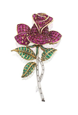 A gem-set brooch, 1940s