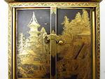 An inlaid iron Komai style miniature cabinet Meiji
