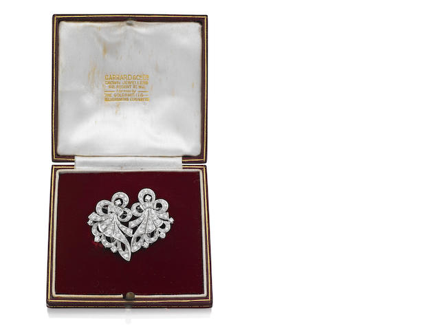 A mid 20th century diamond double-clip brooch