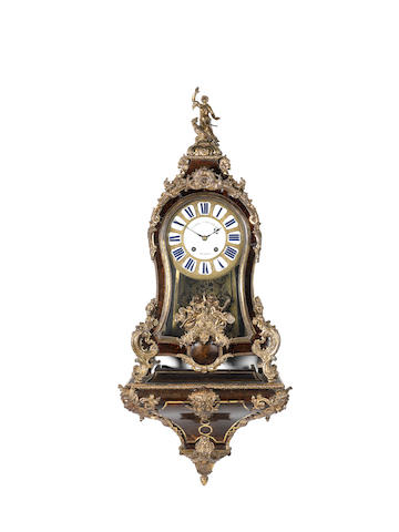 An impressive mid 18th century French ormolu-mounted tortoiseshell bracket clock with original wall bracket Andre Rousseau, A Paris