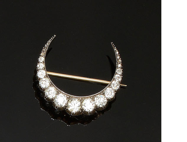 A Victorian diamond crescent brooch/hair pin