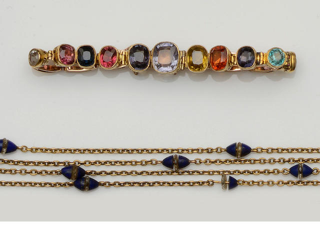 A vari gem-set bracelet and a lapis lazuli and rock crystal long chain (2)