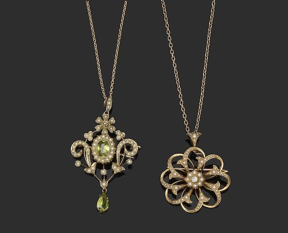 A peridot and seed pearl brooch/pendant and a diamond and seed pearl brooch/pendant  (2)
