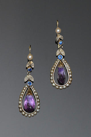 A pair of amethyst, seed pearl and diamond earpendants