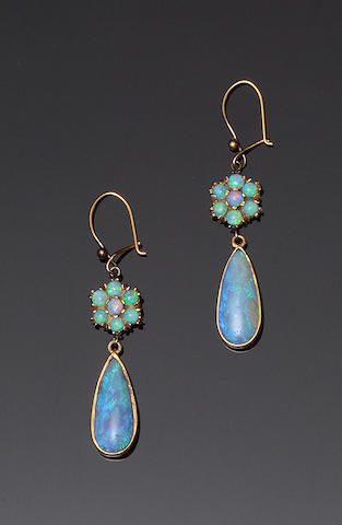 A pair of opal earpendants