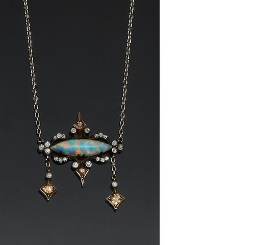 An opal and diamond necklace and earpendants suite (2)