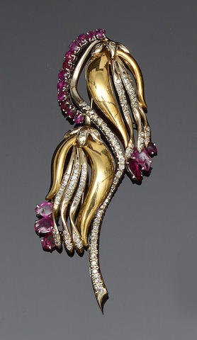 A ruby and diamond spray brooch, circa 1950s