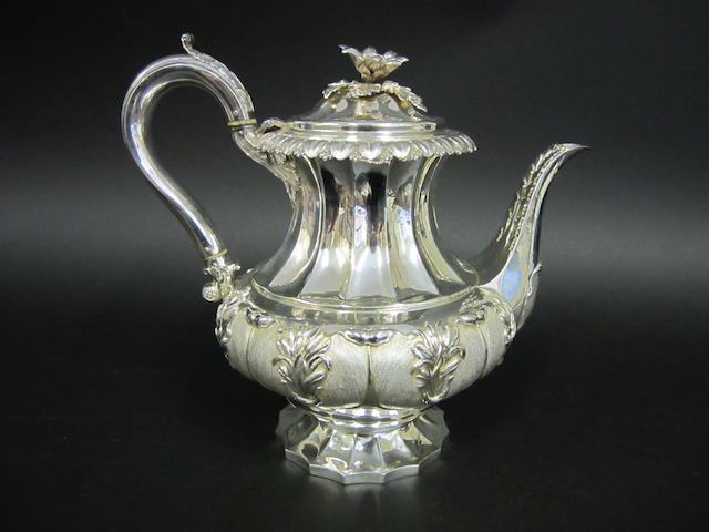 A George IV silver baluster coffee pot by Emes and Barnard, London 1826