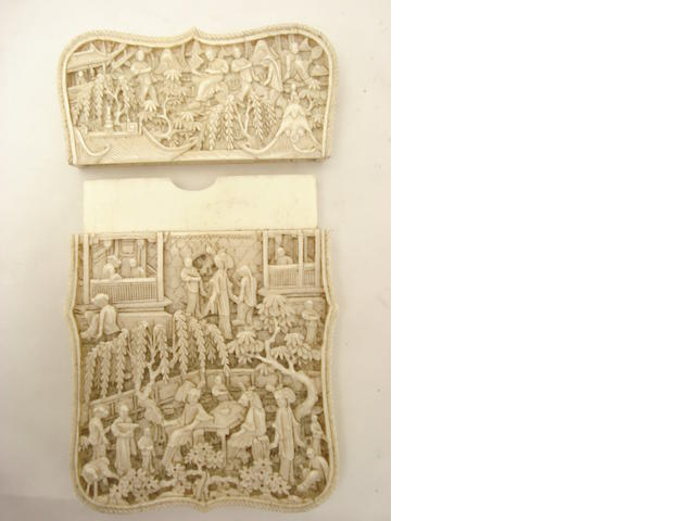 A Canton export ivory card case 19th century