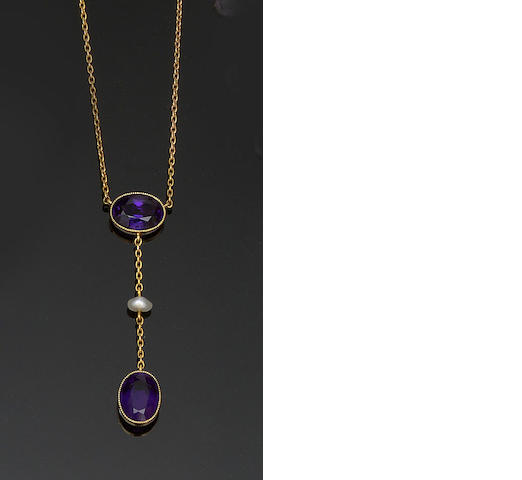 An amethyst and pearl pendant