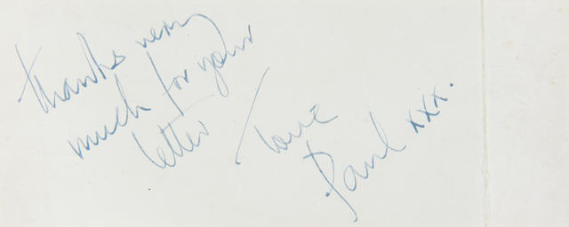 Paul McCartney/ The Beatles: A rare Beatles business card signed by Paul McCartney,  1963,