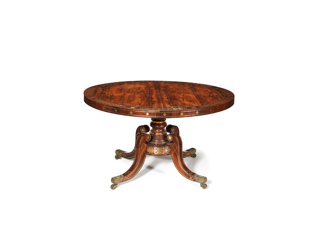 A Regency rosewood and brass marquetry centre table