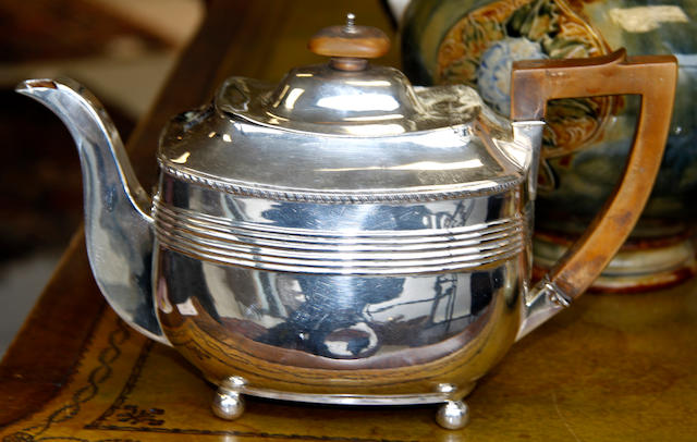 An early 20th Century electro-plated teapot,  (qty)