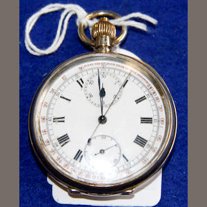 A Swiss silver cased chronograph pocket watch, Import marks for 1909,