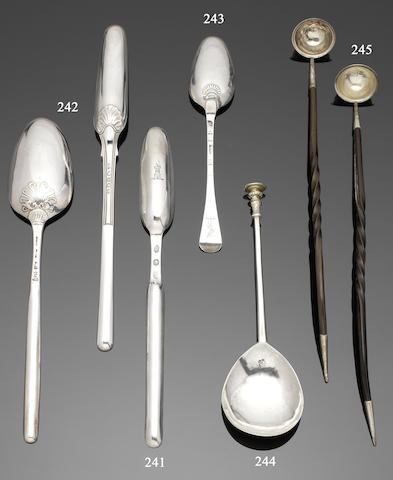 An early 17th century silver seal top spoon stamped once in the bowl with five foil/five petal rose, circa 1626