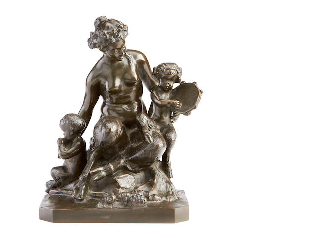 After Claude Michel Clodion, French, (1738-1814)  A 19th century bronze group of a satyr mother and children