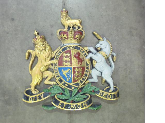 A hand-painted Royal Endorsement Coat of Arms display,