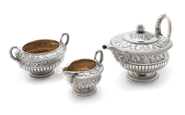 A George IV three piece silver tea service by Robert Gray & Son, Edinburgh 1826