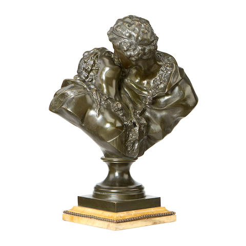 After Antoine Houdon, French (1741-1828)  A late 19th / early 20th century bronze bust of 'Le Baiser Donné'