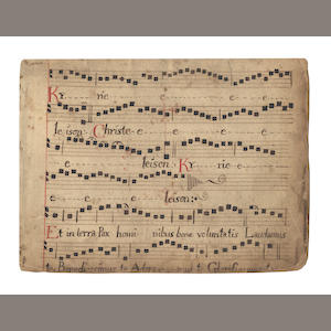 "MUSIC AND SCHOLARSHIP. Manuscript of Gregorian chant, together with a disbound manuscript of sacred verse settings and a manuscript of ""De Concordia Historiae Sacrae et Prophanae"" by Father Lazzari"