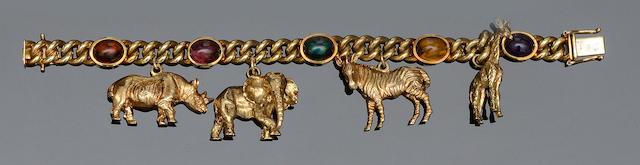 A vari gem-set charm bracelet