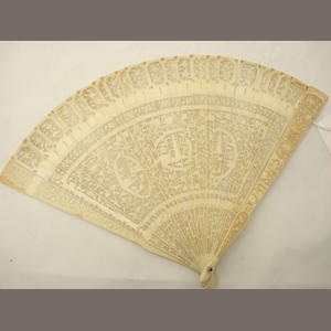 A Canton export ivory fan 19th century