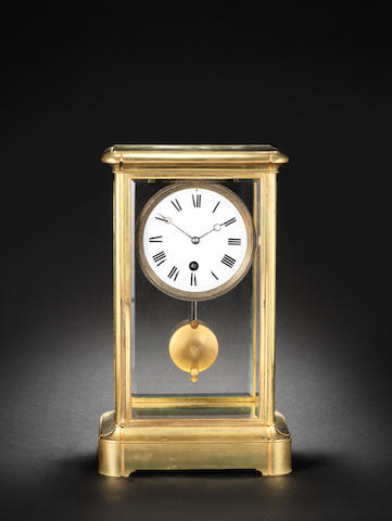 A rare 19th century French year duration four glass mantel clock Numbered 3102