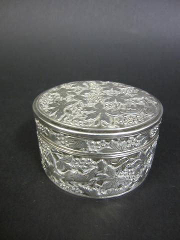 A Chinese silver circular trinket box bearing character marks, circa 1910