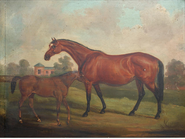 English School, 19th Century Horse and foal before a hall