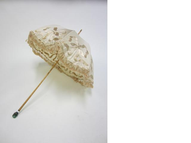 Betaille, Paris; A Russian silver, enamel and beryl mounted parasol 1908-1917 control marks
