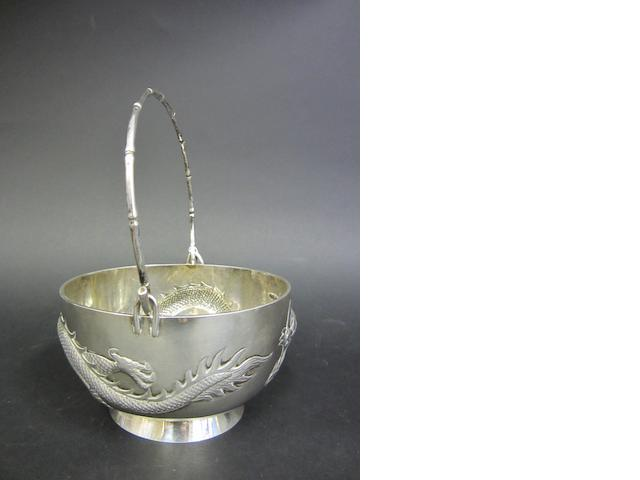 A Chinese silver swing-handle sugar bowl by Wang Hing & Co., Hong Kong circa 1900