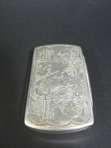 A continental silver rectangular snuff box marks untraced, circa 1890