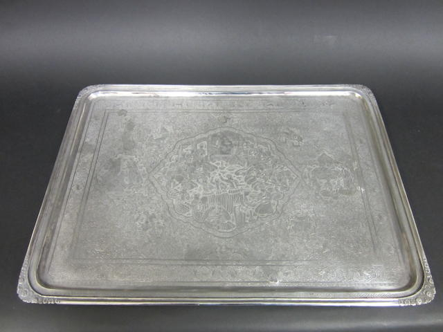 A Persian silver rectangular tray Lion mark for .840 standard, circa 1967-1979