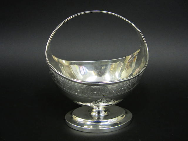 A George III silver bright-cut sugar basin by William Frisbee, London 1795