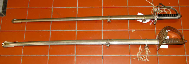 An 1821 Pattern Artillery Officer's Sword and a Reproduction 1897 Pattern Infantry Officer's Sword