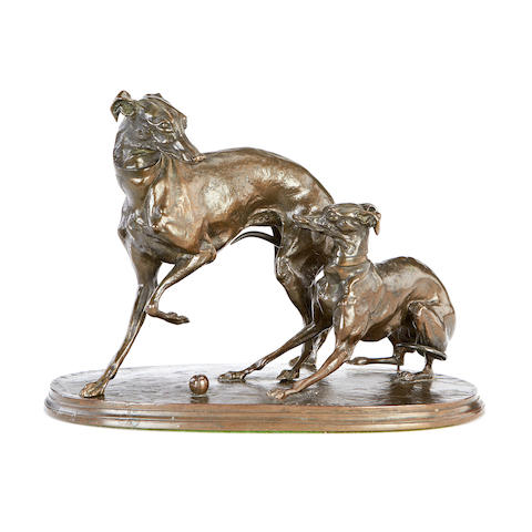 After Pierre Jules Mêne, French (1810-1879) A 19th century bronze model of two Whippets playing with a ball Group de deux levrettes jouant à la boulle