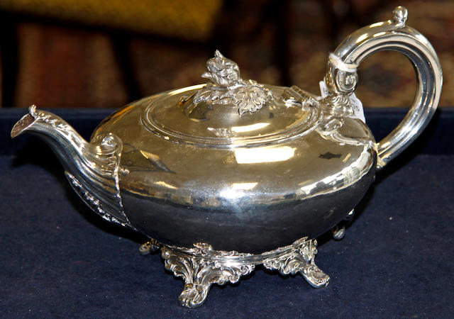 A Victorian silver teapot, by Samuel Hayne & Dudley Cater, London, 1843,